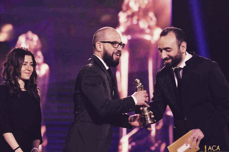 Ahmed Hafez receving his Best Editing Award at ACA 2017