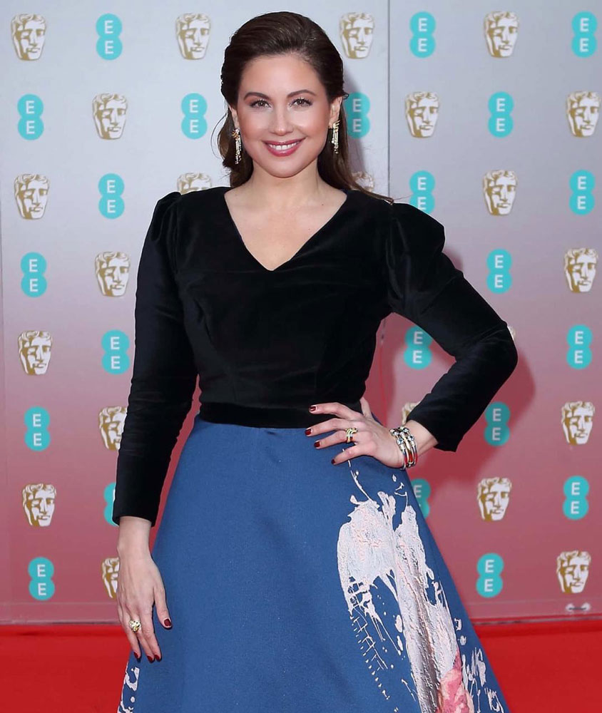 In a custom made Lucie Vaclavova artistic dress for Bafta