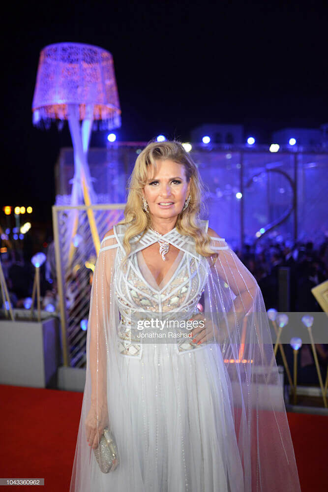 Yousra on the red carpet at the closing ceremony of the 2nd El Gouna Film Festival on September 28, 2018