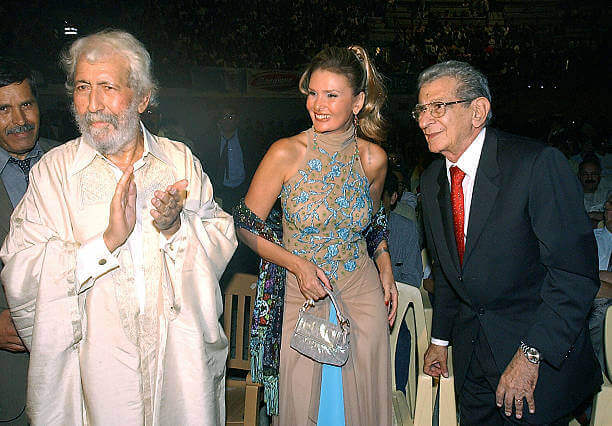Yousra and Egyptian director Youssef Shahine at the opening of the Carthage film festival 01 October 2004 in Tunis 3