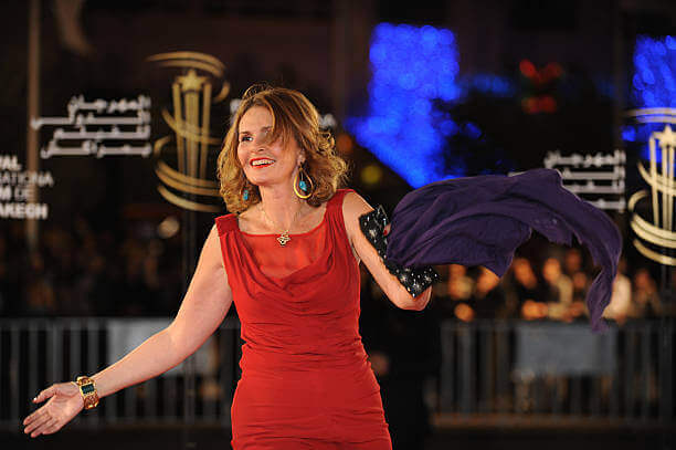 Yousra arrives to present an award to Moroccan director Mohamed Abderrahmane Tazi at the 10th Marrakech film festival on December 7, 2010
